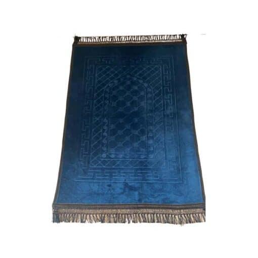 Tapis de prière épais bleu pétrole noir