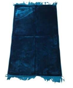 Tapis de prière uni épais turc bleu