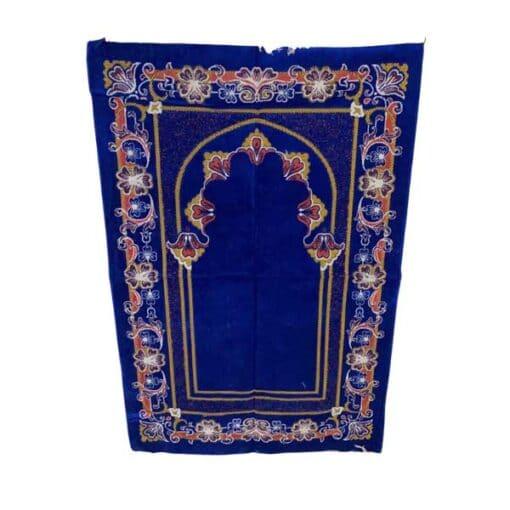 Tapis de prière bleu motif à fleurs