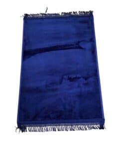 Tapis de prière épais uni bleu nuit