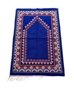 Tapis de prière bleu à motifs multiples