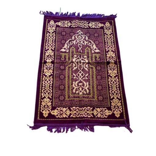 Tapis de prière brodé motif mauve