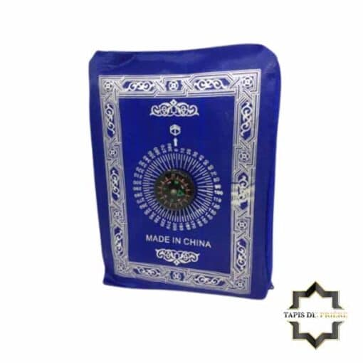 Tapis de prière de poche bleu avec boussole