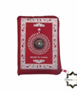 Tapis de prière de poche rouge avec boussole