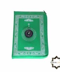 Tapis de prière de poche vert avec boussole