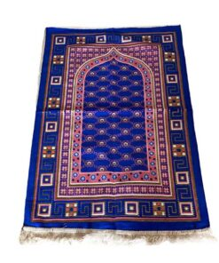 Tapis de prière décoration rouge bleu