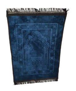 Tapis de prière épais avec motif bleu pétrole