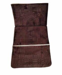 Tapis de prière pliable épais marron avec dossier