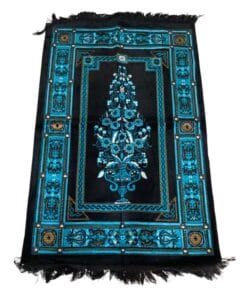 Tapis de prière noir bleu motif
