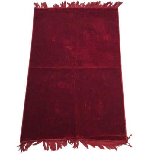 Tapis de prière uni épais turc rouge