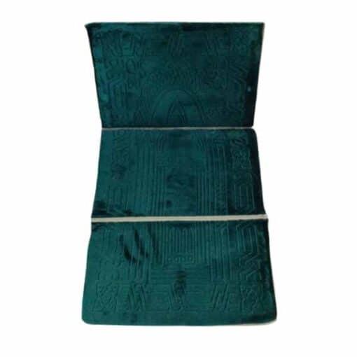 Tapis de prière pliable épais vert avec dossier