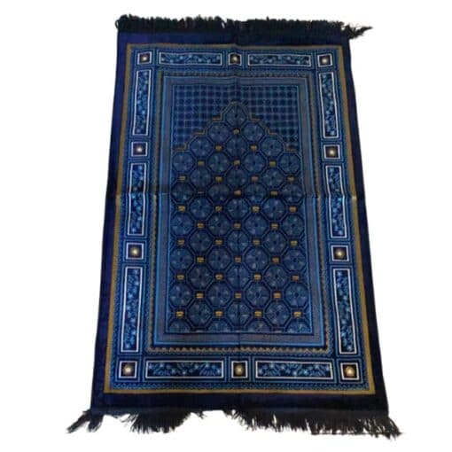 Tapis de prière bleu foncé avec motif