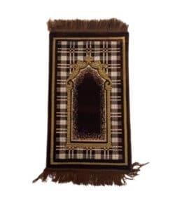 Tapis de prière enfant marron motif carré