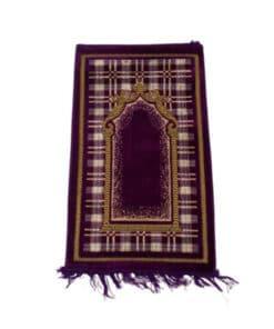 Tapis de prière mauve motif carré
